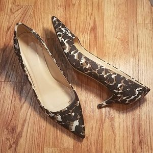 J. Crew Low Heel Leoprod Print Pointy Toe Shoes